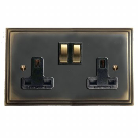Edwardian Switched Socket 2 Gang Dark Antique Relief