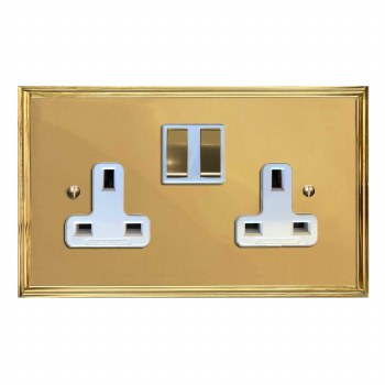 Edwardian Switched Socket 2 Gang Polished Brass Lacquered & White Trim