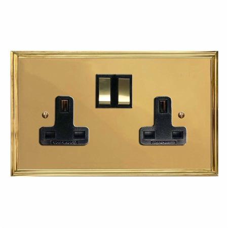 Edwardian Switched Socket 2 Gang Polished Brass Lacquered & Black Trim