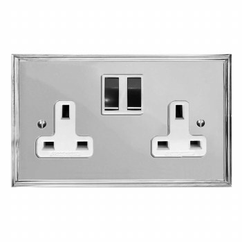 Edwardian Switched Socket 2 Gang Polished Chrome & White Trim
