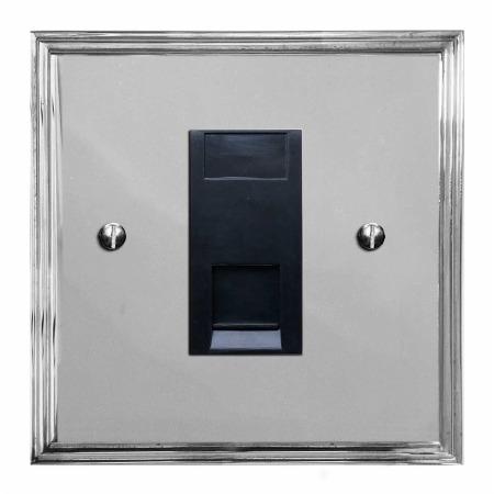 Edwardian Telephone Socket Secondary Polished Chrome & Black Trim