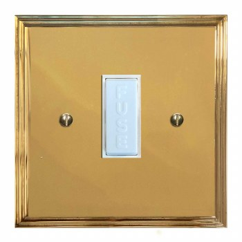 Edwardian Fused Spur Connection Unit 13 Amp Polished Brass Lacquered & White Trim