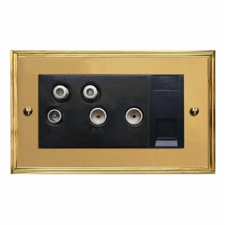 Edwardian Sky+ Socket Polished Brass Lacquered & Black Trim