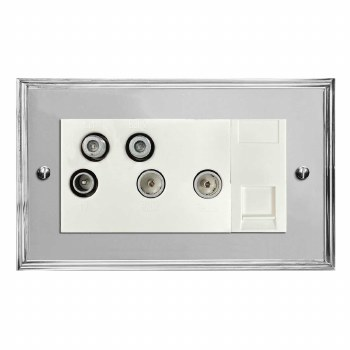 Edwardian Sky+ Socket Polished Chrome & White Trim
