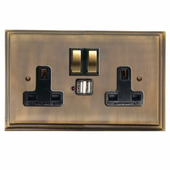 Edwardian Switched Socket 2 Gang USB Antique Brass Lacquered