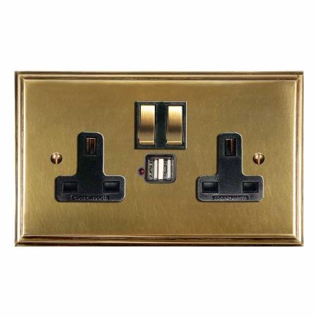 Edwardian Switched Socket 2 Gang USB Antique Satin Brass