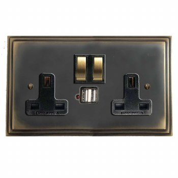 Edwardian Switched Socket 2 Gang USB Dark Antique Relief