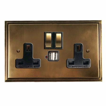 Edwardian Switched Socket 2 Gang USB Hand Aged Brass