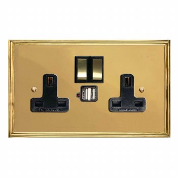 Edwardian Switched Socket 2 Gang USB Polished Brass Lacquered & Black Trim