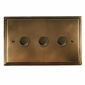Edwardian Dimmer Switch 3 Gang Hand Aged Brass