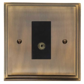 Edwardian TV Socket Outlet Antique Brass Lacquered