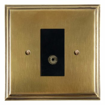 Edwardian TV Socket Outlet Antique Satin Brass