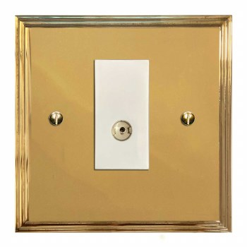 Edwardian TV Socket Outlet Polished Brass Lacquered & White Trim