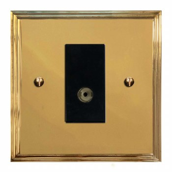 Edwardian TV Socket Outlet Polished Brass Lacquered & Black Trim
