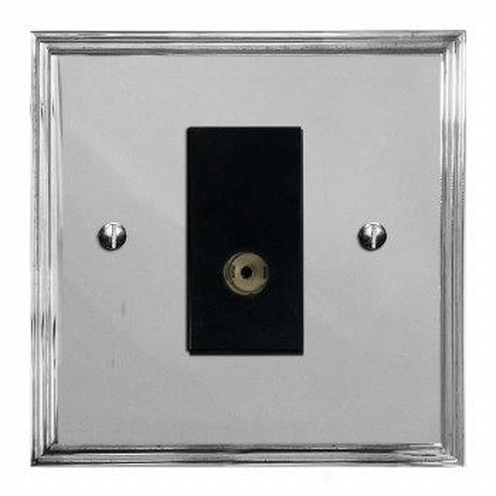 Edwardian TV Socket Outlet Polished Chrome & Black Trim