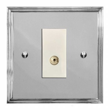 Edwardian TV Socket Outlet Polished Chrome & White Trim