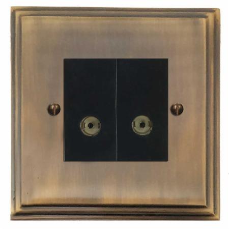 Edwardian TV Socket Outlet 2 Gang Antique Brass Lacquered