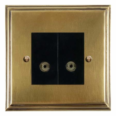 Edwardian TV Socket Outlet 2 Gang Antique Satin Brass