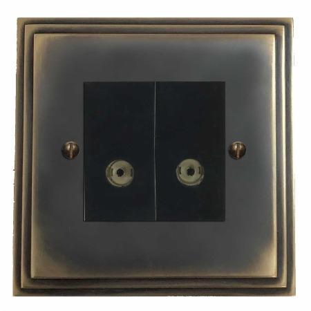 Edwardian TV Socket Outlet 2 Gang Dark Antique Relief