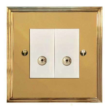 Edwardian TV Socket Outlet 2 Gang Polished Brass Lacquered & White Trim