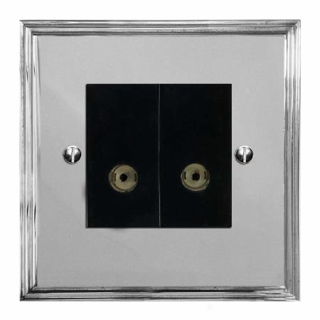 Edwardian TV Socket Outlet 2 Gang Polished Chrome & Black Trim
