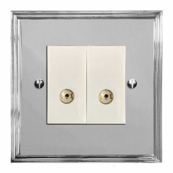 Edwardian TV Socket Outlet 2 Gang Polished Chrome & White Trim
