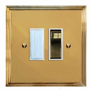 Edwardian Switched Fused Spur Polished Brass Lacquered & White Trim