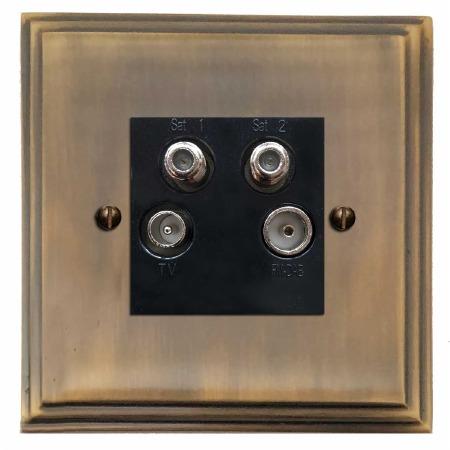 Edwardian Quadplex TV Socket Antique Brass Lacquered