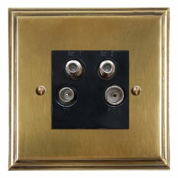 Edwardian Quadplex TV Socket Antique Satin Brass