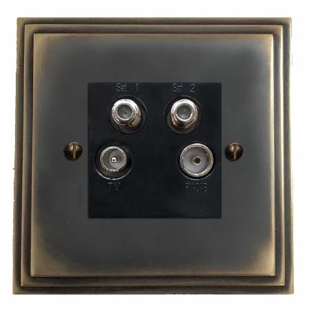 Edwardian Quadplex TV Socket Dark Antique Relief