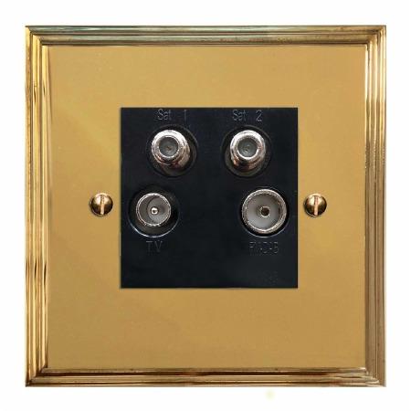 Edwardian Quadplex TV Socket Polished Brass Lacquered & Black Trim