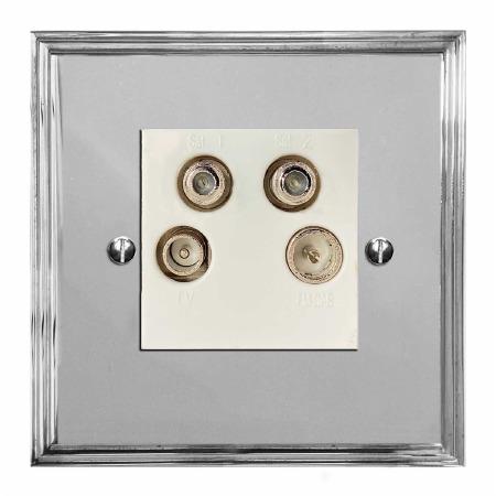 Edwardian Quadplex TV Socket Polished Chrome & White Trim