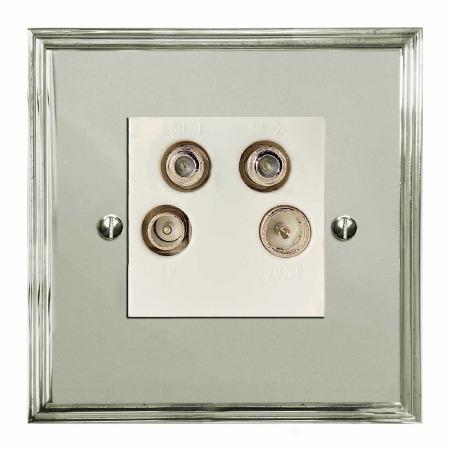 Edwardian Quadplex TV Socket Polished Nickel