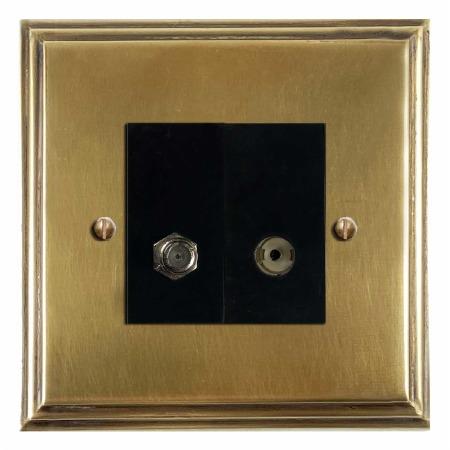 Edwardian Satellite & TV Socket Outlet Antique Satin Brass