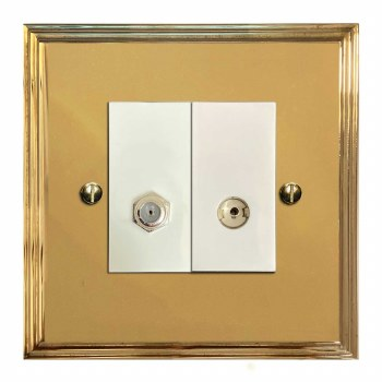 Edwardian Satellite & TV Socket Outlet Polished Brass Lacquered & White Trim