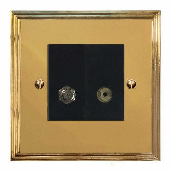 Edwardian Satellite & TV Socket Outlet Polished Brass Unlacquered