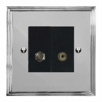 Edwardian Satellite & TV Socket Outlet Polished Chrome & Black Trim