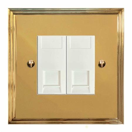 Edwardian Telephone Socket Secondary 2 Gang Polished Brass Lacquered & White Trim