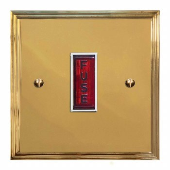 Edwardian Fused Spur Connection Unit Illuminated Indicator Polished Brass Lacquered & White Trim