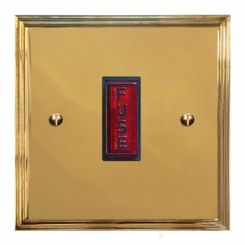 Edwardian Fused Spur Connection Unit Illuminated Indicator Polished Brass Lacquered & Black Trim