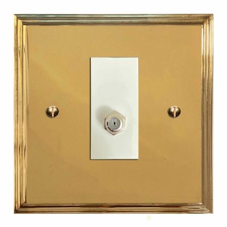 Edwardian Satellite Socket Polished Brass Lacquered & White Trim