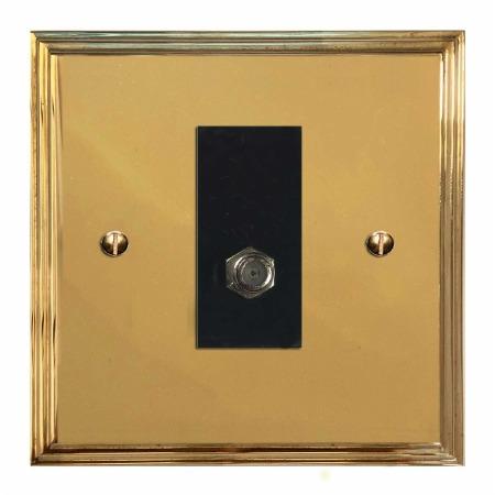 Edwardian Satellite Socket Polished Brass Lacquered & Black Trim