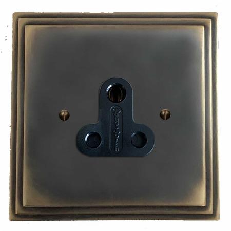 Edwardian Lighting Socket Round Pin 5A Dark Antique Relief