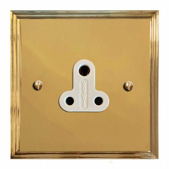Edwardian Lighting Socket Round Pin 5A Polished Brass Lacquered & White Trim