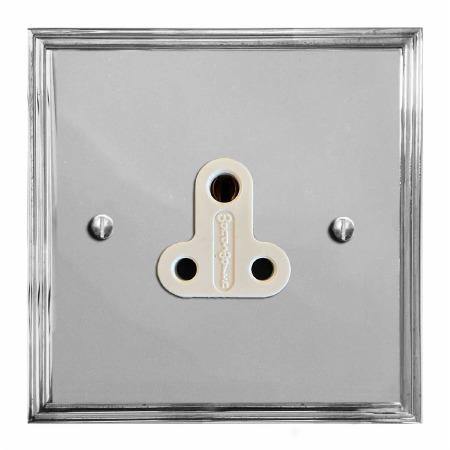 Edwardian Lighting Socket Round Pin 5A Polished Chrome & White Trim