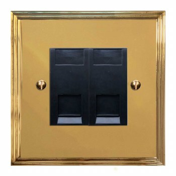 Edwardian RJ45 Socket 2 Gang CAT 5 Polished Brass Lacquered & Black Trim