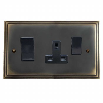 Edwardian Socket & Cooker Switch Dark Antique Relief