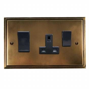 Edwardian Socket & Cooker Switch Hand Aged Brass