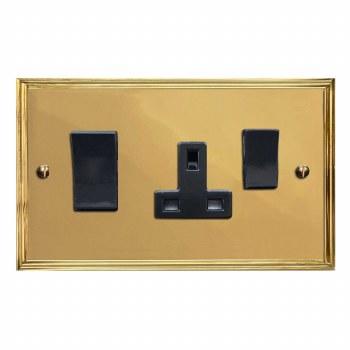 Edwardian Socket & Cooker Switch Polished Brass Lacquered & Black Trim
