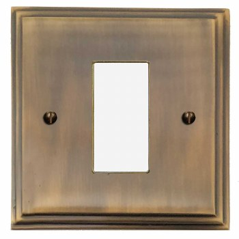 Edwardian Plate for Modular Electrical Components 50x25mm Antique Brass Lacquered